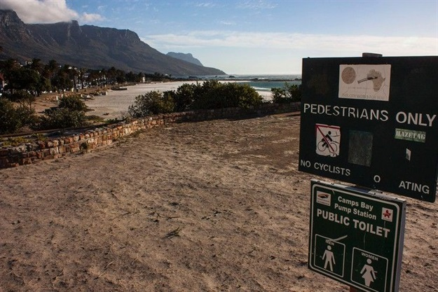 The wastewater treatment plant at Camps Bay pumps over two million litres of raw sewage out to sea every day. While faecal contamination rarely reaches the beach, it does happen, and the City is not telling us when, or how often. Photo: Steve Kretzmann/WCN