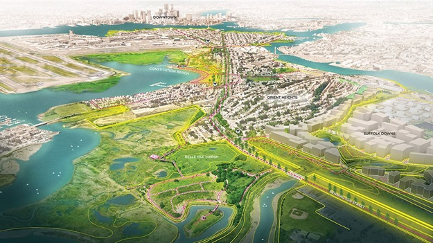For East Boston, marshlands at Belle Isle will be restored to buffer the shoreline, with other new connections and access points marked by pink dashes. All Images © SCAPE