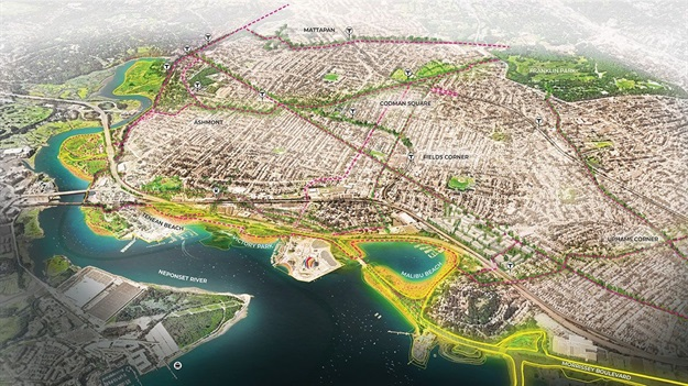 Plans for Greater Boston, including Dorchester, will also incorporate new pathways alongside elevated landscapes. All Images © SCAPE