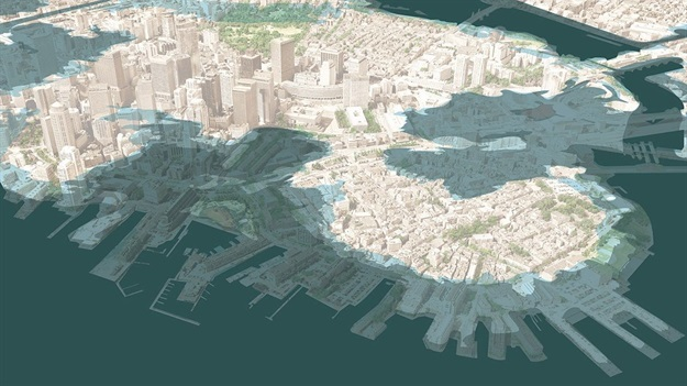 SCAPE has visualised how dramatic sea-level rise could affect Downtown Boston by 2070. All Images © SCAPE