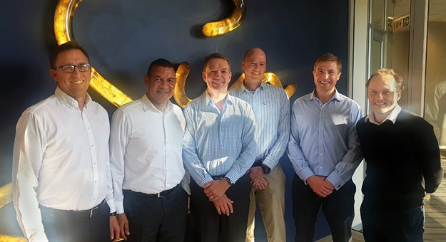 Boardwalk Mall shareholders: (left to right) Pieter Lombaard (Moolman Group), Khati Mokhobo and Anthony Leeming of Sun International, Paul Gerard and John Holley of Flanagan and Gerard and Steph Beyers (Moolman Group)