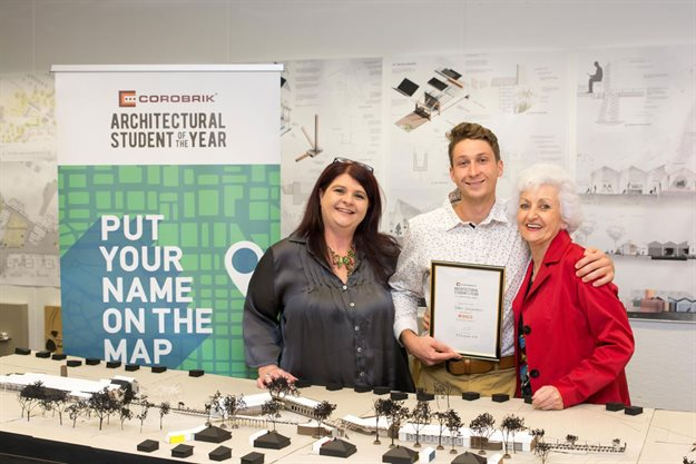 Gideon Greyvenstein pictured with (left) Lourine Smith, secretary of the NMU Department of Architecture and (right) Adri Oliphant, centre manager, Corobrik PE.