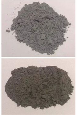 Adding industrial byproducts fly ash (above) and silica fume (below) improves the water resistance of MOC. Author provided