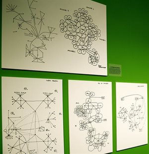 Exhibit showing Friedman's graph method. At top, 1978 plans for designing David d'Angers Lycée, a school in Angers, France. (trevor.patt/Flickr/Yona Friedman: Genesis of a Vision. Archizoom gallery, EPFL)